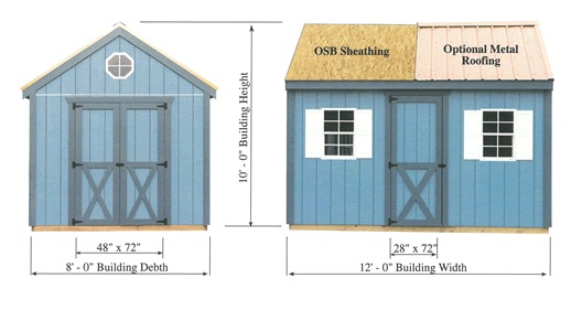 Best Barns Regency 8x12 Wood Storage Shed Kit (regency_812) Shed Elevation