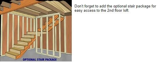 Best Barns Roanoke 16x24 Wood Storage Shed Kit (roanoke1624) Optional Stair Package