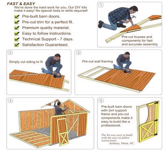 Best Barns South Dakota 12x16 Vinyl Siding Wood Shed Kit (southdakota_1216) DIY Assembly No Skills Required