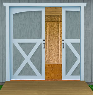 Best Barns South Dakota 12x12 Vinyl Siding Wood Shed Kit (southdakota_1212) Pocket Doors