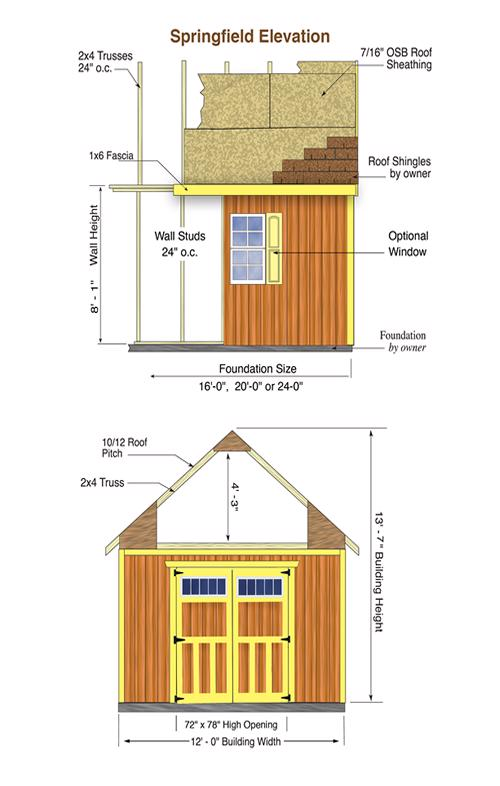 Best Barns Springfield 12x24 Wood Storage Shed Kit (springfield_1224) Shed Elevation