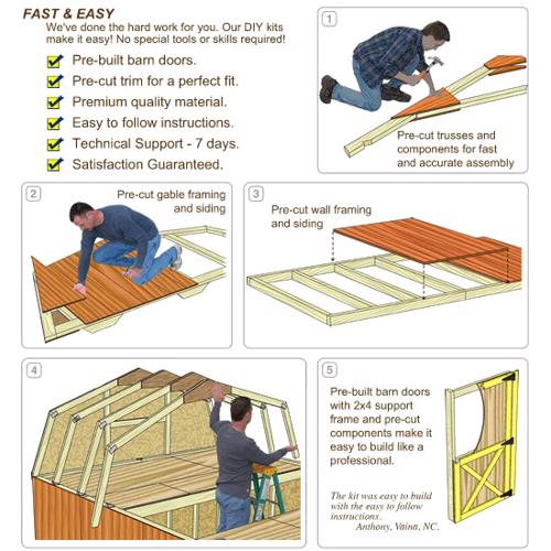 Best Barns Woodville 10x12 Wood Shed Kit - All Pre-Cut (woodville_1012) DIY Assembly No Skills Required