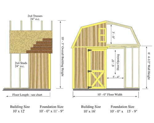 Best Barns Woodville 10x12 Wood Shed Kit - All Pre-Cut (woodville_1012) Shed Elevation