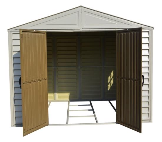 DuraMax 10.5'W x 8'D Woodbridge Adobe Vinyl Shed w/ Foundation (20224) This shed comes with a foundation kit, but you need to finish with either plywood or concrete.