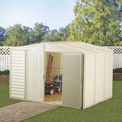 DuraMax 10x10 Woodbridge Vinyl Shed Kit (00481) ou can use the backyard garden shed as a space for housing your lawnmower and garden tools.
