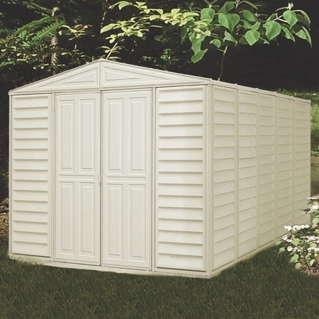 DuraMax 10x13 Woodbridge Vinyl Shed Kit (00581) You can put this shed in any backyard setting.