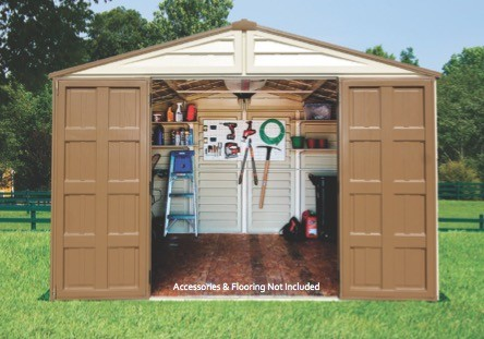 Duramax 10x13 WoodBridge Plus Vinyl Shed Kit w/ Foundation (40234) Best place to store your lawn and garden tools