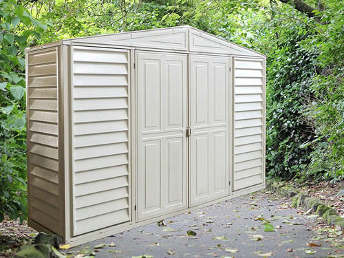 DuraMax 10x3 Woodbridge SidePro Vinyl Shed w/ Foundation Kit (98001) Ideal addition to your garden or any backyard setting.