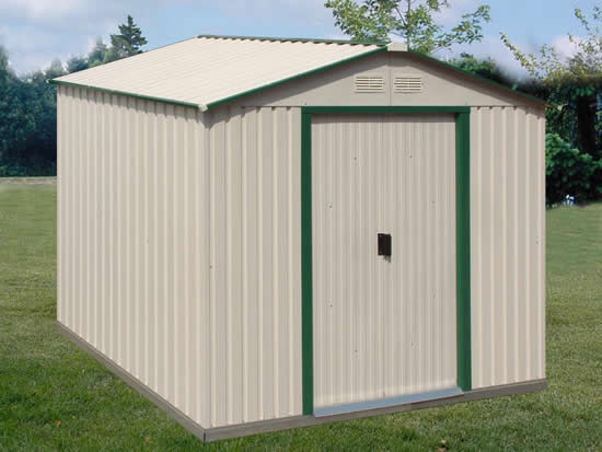 DuraMax 10x8 DelMar Metal Storage Shed Kit w/ Floor (50212) This shed is an ideal addition to any outdoor setting.