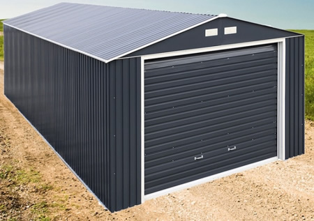 Duramax 12x20 Gray Imperial Metal Storage Garage Building Kit )50951) This garage shed is ideal to protect your vehicles and is designed to withstand heavy snow, windstorms, and rain.