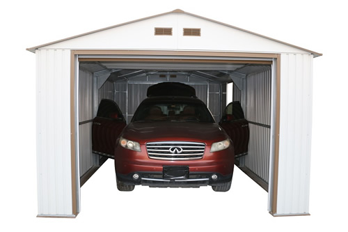 DuraMax 12x20 Imperial Steel Storage Garage Kit - White (50931) This garage kit has tall walk-in garage made easily for your vehicle.