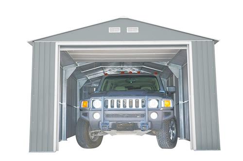 DuraMax 12x32 Imperial Steel Storage Garage Kit - Light Gray (55252), park a car, lawn mower, add storage