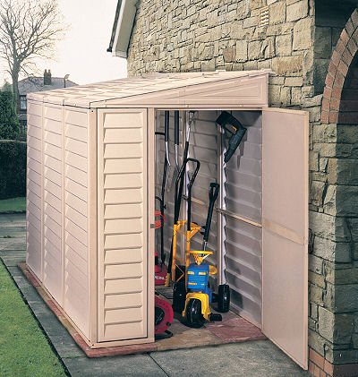 DuraMax 4x8 Sidemate Vinyl Shed w/ Foundation Kit (06625) This shed is maintenance free, no need for paining or treating.