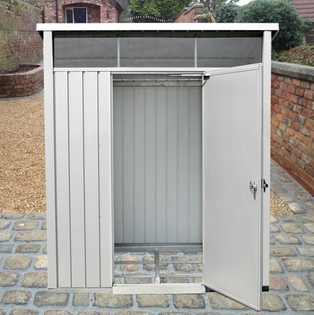 DuraMax 6x5 Palladium Metal Storage Shed Kit - Light Gray (41872) This shed is made from double thick galvanized steel walls that protects the shed and ensure longevity.