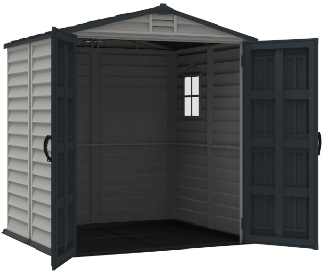 DuraMax 6x6 StoreMate Plus Vinyl Storage Shed Kit w/ Floor (30425) Wide Opening Doors
