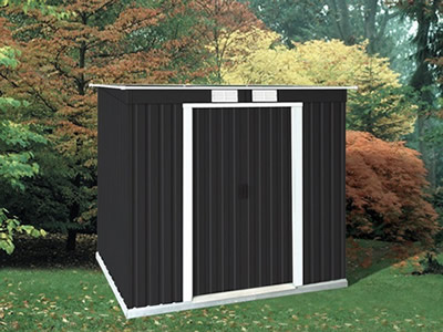 DuraMax 8x4 Pent Roof Metal Shed Kit w/ Vents (50651) Gives you the storage space that you need for your belongings.