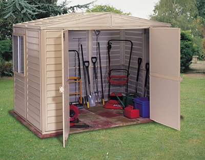 Duramax 8x5.5 Duramate Vinyl Shed w/ Floor Kit (00184) Provides storage for your lawn and garden tools.