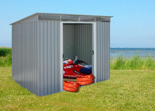 DuraMax 8x6 Pent Roof Metal Shed Kit w/ Skylights (50371) ideal storage and protection to your belongings.