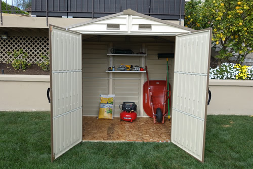 DuraMax 8x6 StoreAll Vinyl Shed Kit w/ Foundation Kit (30115) This shed will provide you with extra space which you can use for storing your lawn and garden tools.