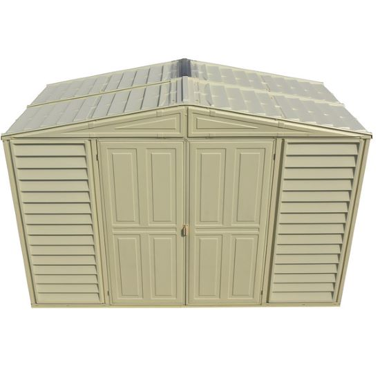 This shed is all weather, fire retardant, greater long term value and maintenance free; shed will not rust or corrode like a painted metal.