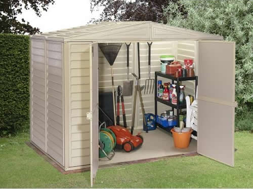 DuraMax 8x5.5 DuraMate Vinyl Storage Shed Kit (00181) Helps you organize your garden tools.