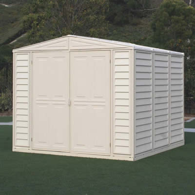 DuraMax 8x8 Duramate Vinyl Shed w/ Floor Kit (00384) This shed comes with a foundation kit and you need to finish it with a plywood or concrete.