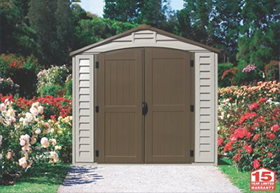 Duramax 8x8 DuraPlus Vinyl Shed Kit w/ Foundation Kit (30114) Ideal addition to your backyard or garden.