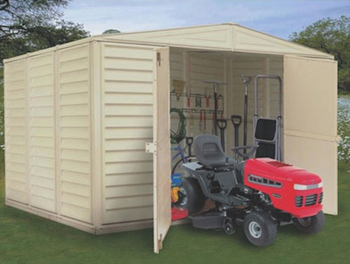 Duramax WoodBridge 10.5x8 Vinyl Storage Shed Kit w/ Foundation (00224-1M) adds storage space for your lawn and garden tools