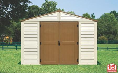 DuraMax 10x10 WoodBridge Plus Vinyl Shed Kit w/ Foundation (40224) assembled in backyard setting