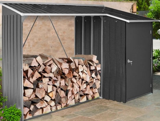 Duramax 8x3 Woodstore Metal Combo Shed Kit - Gray (53651) storage addition to backyard