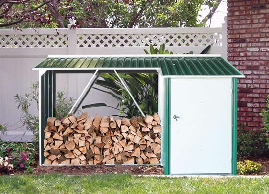 Duramax 8x3 Woodstore Metal Combo Shed Kit - Green (53631) Gives storage protection to your firewood