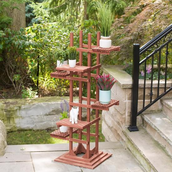 Leisure Season 6-Tier Wooden Pedestal Plant Stand (PS6116) Keeps your big and small plants organized in this pedestal stand.