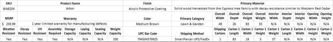 Leisure Season Arbor (WA6204) Specification Table