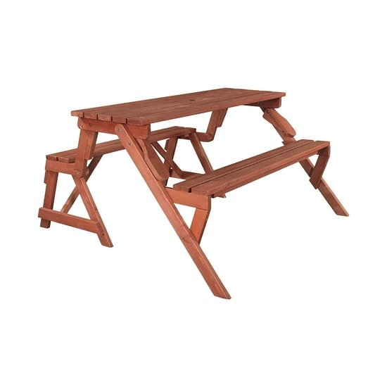 Leisure Season Convertible Wood Picnic Table & Garden Bench Kit (FPTB7104) - Perfect table and bench for outdoor use.