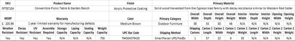 Leisure Season Convertible Wood Picnic Table & Garden Bench Kit FPTB7104-Specification
