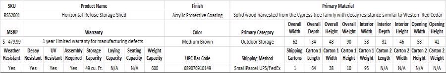 Leisure Season Horizontal Refuse Storage Shed RSS2001-Specification