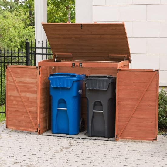 Leisure Season Large Horizontal Refuse Storage Shed (RSS2001L) Large enough to provide shelter for your garbage cans/bins.