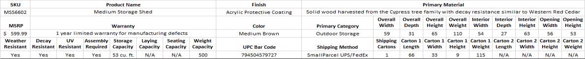 Leisure Season Medium Storage Shed (MSS6602)