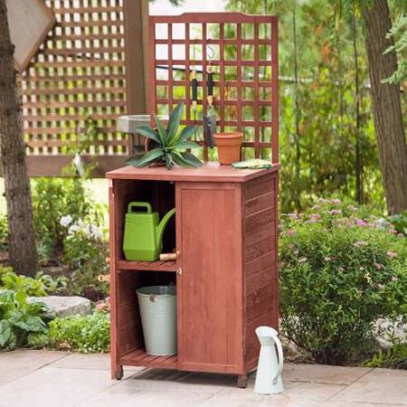 Leisure Season Potting Table With Storage (GST6302) - Helps you organize your lawn and garden tools.