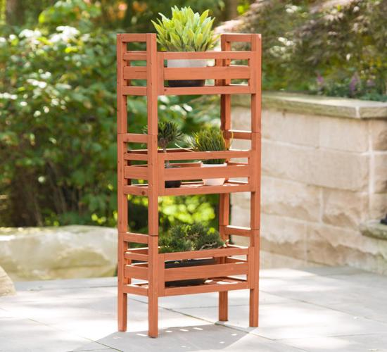 Leisure Season Wooden Stacking Plant Stand (PBS7117) - This plant stand is suitable for your growing plants.