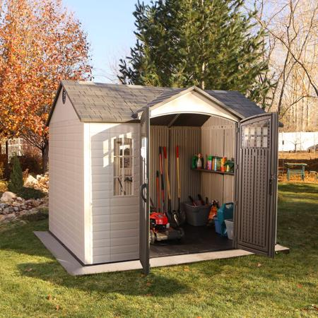 Lifetime 10x8 Plastic Outdoor Storage Shed (60333) Ideal storage for your lawn and garden tools.