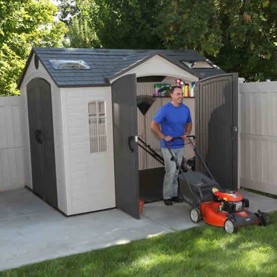 Lifetime 1x08 Garden Shed Kit w/ Double Doors (60001) Organize your tools in order of what you need the most, within reach.