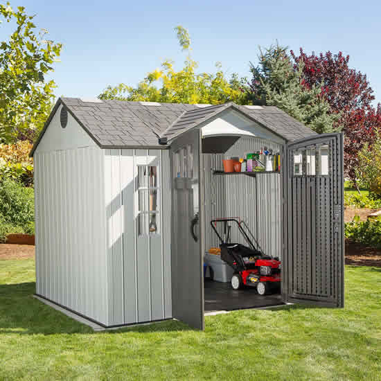 Lifetime 10x8 Plastic Storage Shed Kit w/ Vertical Siding (60243) Keep all your tools easy to find and displayed with style in your backyard using this shed.