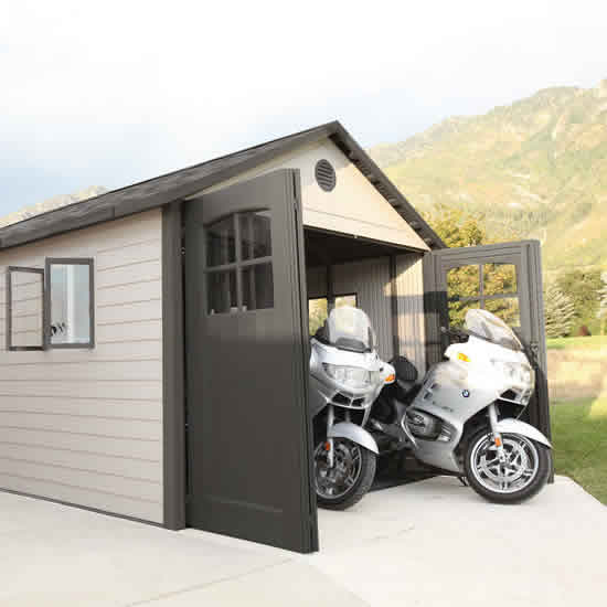 Lifetime 11x16 Plastic Storage Shed Kit w/ 9ft Wide Doors (60187/20125) This shed will give you more space for your motorcycles.