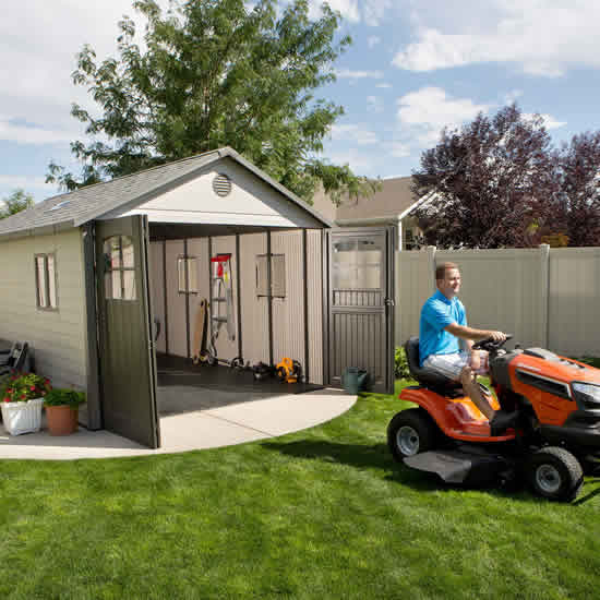 Lifetime 11x18.5 Storage Garage Kit w/ 9 ft Wide Doors (60236) This shed protects vehicles both two-wheeled and four-wheeled vehicles.