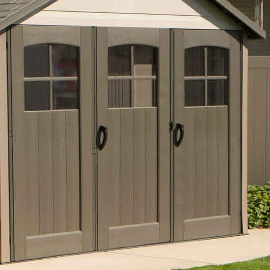 Lifetime 11x21 Storage Garage Kit w/ 9ft Wide Doors (60237) This shed comes with a tri-fold doors for wide access to your vehicle.