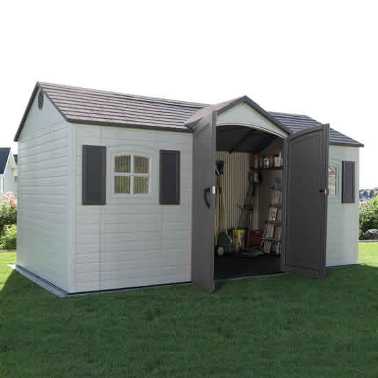 Lifetime 15x8 Plastic Garden Storage Shed Kit w/ Floor - This shed comes with doors that can give you an easy access to your storage.