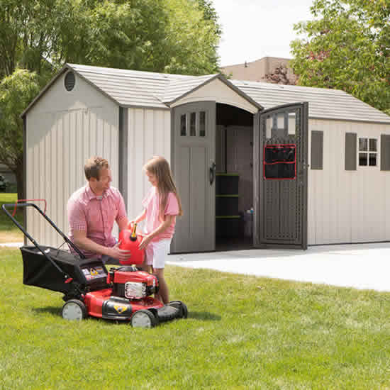 Lifetime 17.5x8 Plastic Storage Shed Kit w/ Floor (60214) This shed has a large storage capacity for your lawn and garden tools.