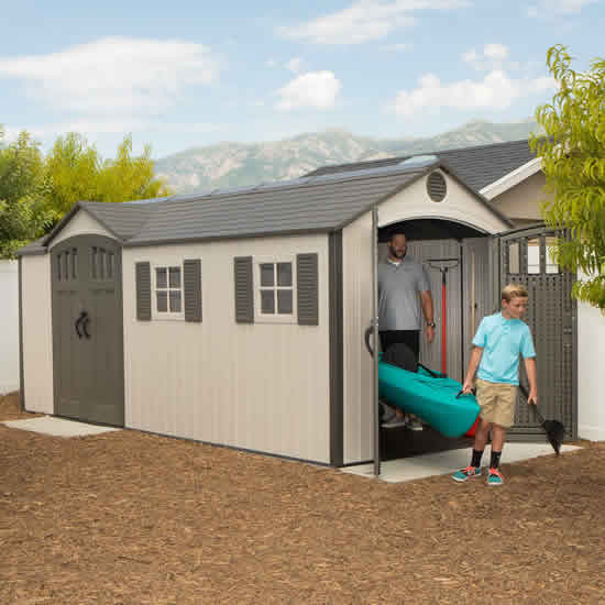 Lifetime 17.5x8 Plastic Storage Shed Kit w/ Double Doors (60213) This shed can be a place where you can store your large equipment such as your kayak.
