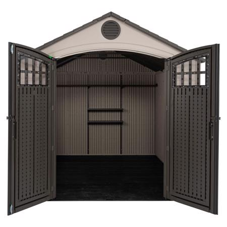 Lifetime 8x10 Outdoor Storage Shed w/ Horizontal Siding (60332) The shed when doors are open.